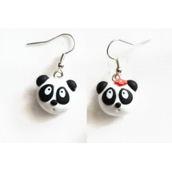Panda earrings black and white