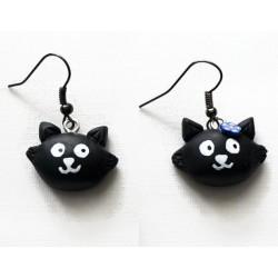 Boucles d'oreilles Chat noir