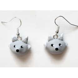 Grey wolf earrings