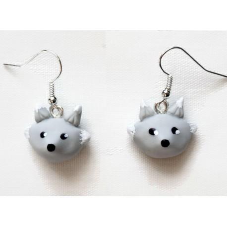 Boucles d'oreilles Loup gris