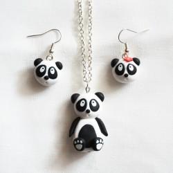 Parure Panda - Collier et boucles d'oreille