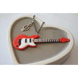 Red and white electric guitar necklace