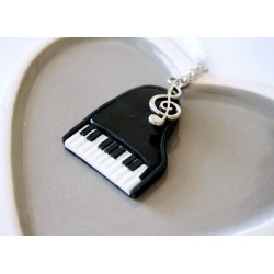 Black and white piano necklace