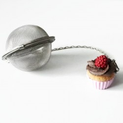 Pink Cupcake tea ball with raspberry