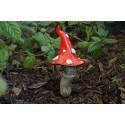 Champignon rouge à collerette - décoration de jardin féérique