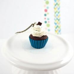 Collier sautoir cupcake bleu