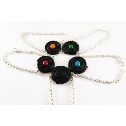 Bracelet Réglisse noir et bonbon coloré - couleur au choix