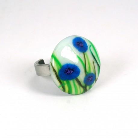 Bague fleurs bleuets