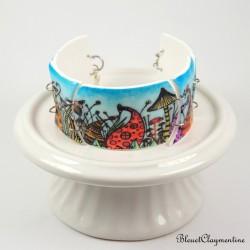 Bracelet champignons féerique bleu - forêt enchantée - pate polymere