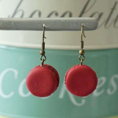 Boucles d'oreilles Macaron rouge