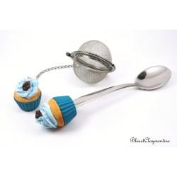 Boule à thé et cuillère - Ensemble cupcake bleu