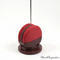 Macaroon picture holder - red chocolate