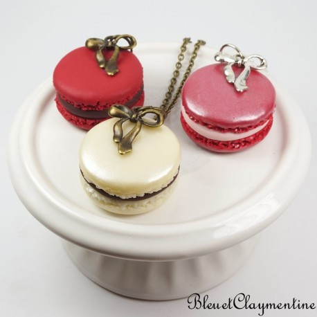 Collier macaron pate polymere