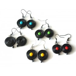 Licorice wheel earrings and colored sweet in the middle